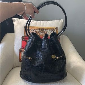 Brahmin Black Leather Gator Bucket Shoulder Bag
